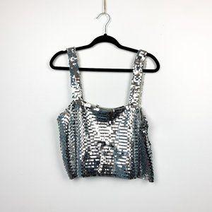🌸2/$30🌸 Zara NWOT Silver Sequin Party Crop Top